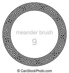 próbka, starożytny, okrągły, meandry