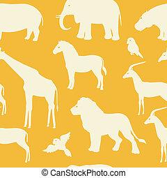 próbka, sylwetka, seamless, zwierzę, afrykanin
