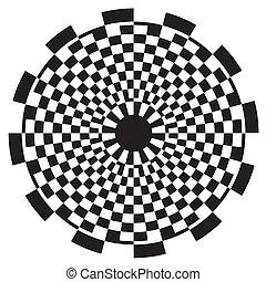 próbka, szachownica, projektować, spirala