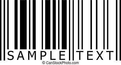 próbka, tekst, barcode