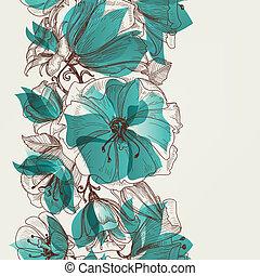 próbka, wektor, kwiat, seamless