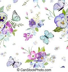 próbka, wektor, rozkwiecony, invitations., akwarela, kwiatowy, tapeta, przelotny, natura, tło, kwiaty, seamless, butterflies., ilustracja, budowla