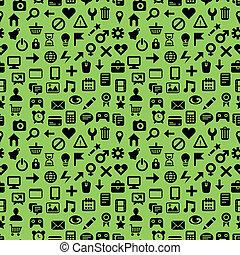 próbka, wektor, technologia, seamless, ikony