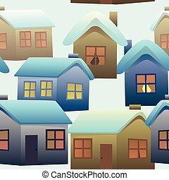 próbka, wieś, seamless, barwny, domy