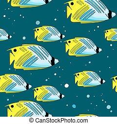 próbka, z, jasny, green-blu, ryby, i, bańki