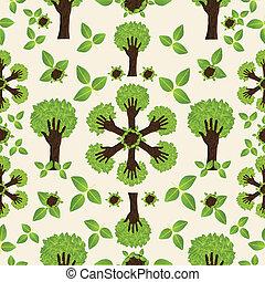 próbka, zielony las, ręka