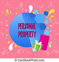 próprio, texto, aquilo, conceito, pessoal, coisas, escrita, tomar, tu, apresentação, property., negócio, cartaz, móvel, bowknot., decorado, cartão, caixa, palavra, presente, pacote, saudação, lata