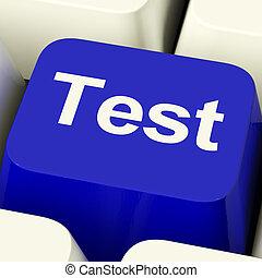 pröva, dator facit, in, blå, visande, frågesport, eller,...