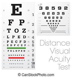 pröva, distans, visuell, skärpa