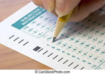 pröva, examen