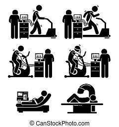 pröva, hjärta, stressa, sjukdomar, övning