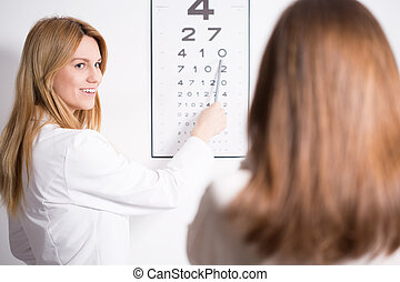 pröva, specialist, ögon, snellen, användande