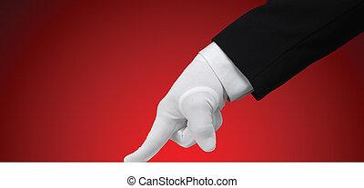 pröva, vit, handske