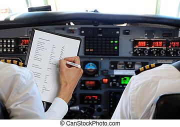 prüfliste, flugzeug, piloten, zwei
