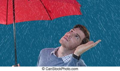 prüfung, animation, mann, kaukasier, regnen, schirm, ihr, ...