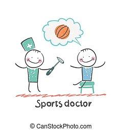 prüfung, athlet, sport, reflexe, doktor