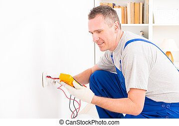 prüfung, elektriker, steckdose