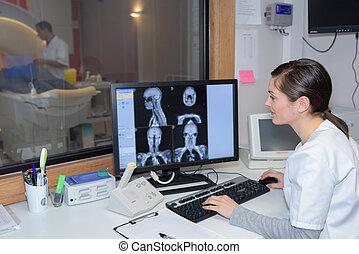 prüfung, gehirn, patienten, doktor, ultraschallaufnahmen