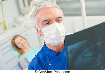 prüfung, zahnarzt, bohrung, röntgenaufnahme, vorher