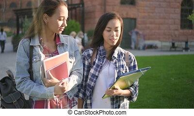 prąd, dziewczyny, mieszany, sprytny, mówiąc, pieszy, dwa, campus.