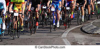 prąd, kolarstwo, asfalt, rowerzyści, rower, mocny, podczas, droga