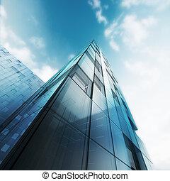průhledný, abstraktní, budova