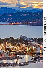 průmyslový, dějiště, do, waterfront