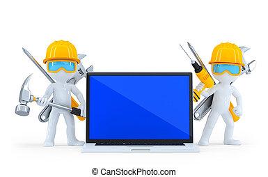 průmyslový dělník, s, laptop., isolated., být dělitelný, svorka přenosová cesta
