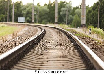 průmyslový, grafické pozadí., dojem, tourism., pohybovat se, pohyb, railway., pojem, rozmazat, nádraží, dráha, rozmazaný, dráha, sunset.