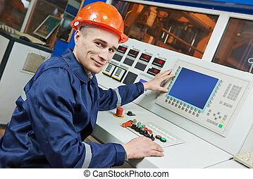 průmyslový, inženýr, dělník, v, vliv zdobit šaty