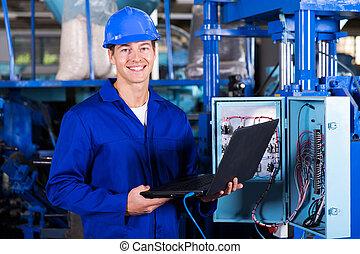 průmyslový, inženýr, s, laptop