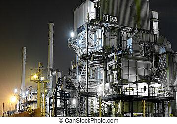 průmyslový, komplikovaný, v noci