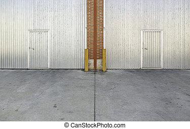 průmyslový, kov, dveře