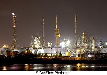 průmyslový, krajina, do, večer