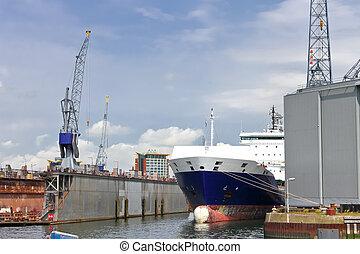 průmyslový, krajina., dopravovat, a, jeřáb, do, loděnice