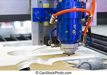 průmyslový laser, výstřižek, hlavička