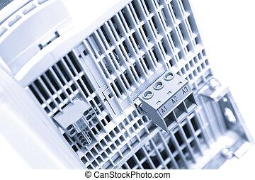 průmyslový, mocnina, vitrína, deska, s, circuit-breakers