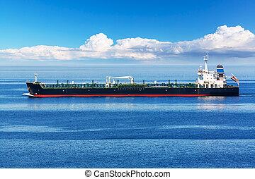 průmyslový, nafta, a, chemikálie, tanker, dopravovat