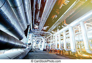 průmyslový, oblast, ocel, naftovod, do, oplzlý udat tón
