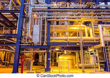 průmyslový, oblast, ocel, naftovod