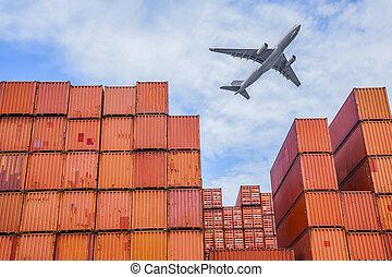 průmyslový, přístav, přepravní skříň