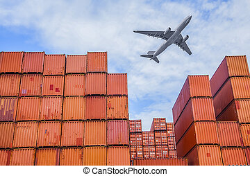 průmyslový, přístav, s, přepravní skříň