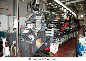 průmyslový, printshop:, flexo, lisovat, tisk