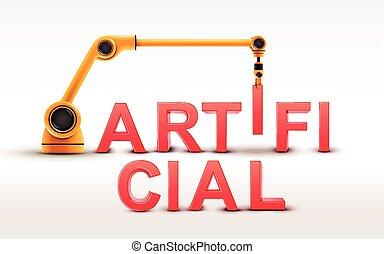 průmyslový, robotic vyzbrojit, budova, umělý, vzkaz