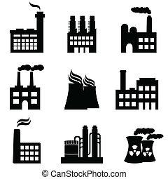 průmyslový, stavení, továrna, a, mocnina umístit