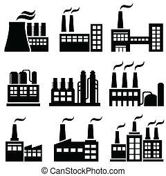 průmyslový, stavení, továrna, mocnina umístit