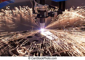 průmyslový, stroj, jako, plazma, výstřižek