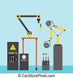 průmyslový, svařování, robotic vyzbrojit, pneumatika, vůz, počítač, stroj