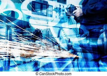průmyslový, technika, abstraktní, grafické pozadí., píle