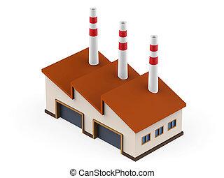 průmyslový, továrna, budova